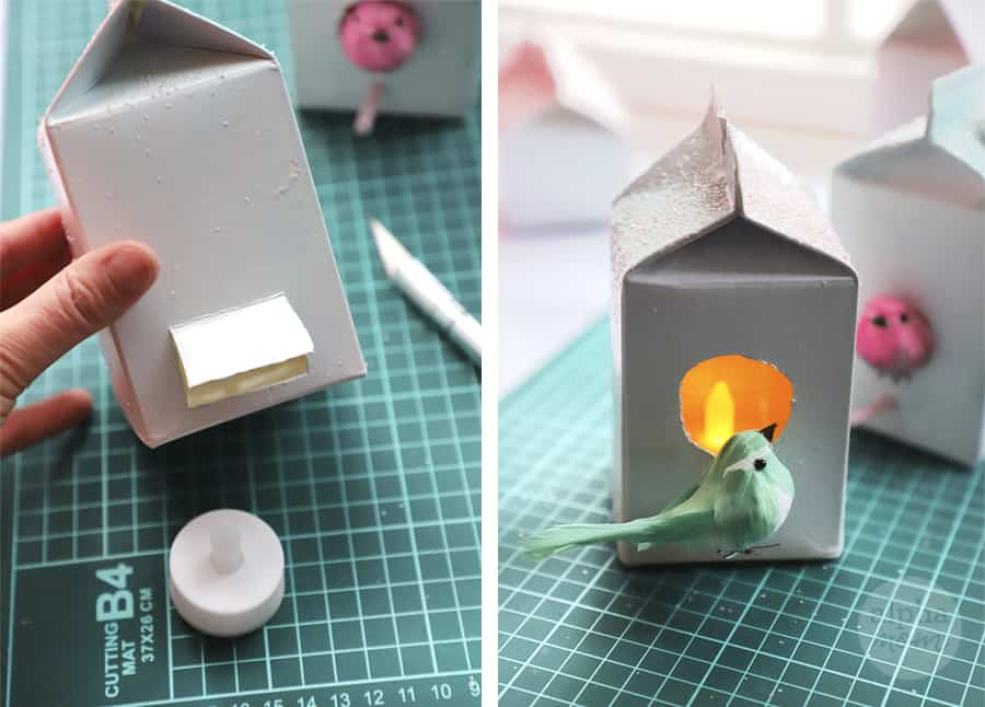 inserting battery operated tea light into creamer carton to make birdhouse ornaments