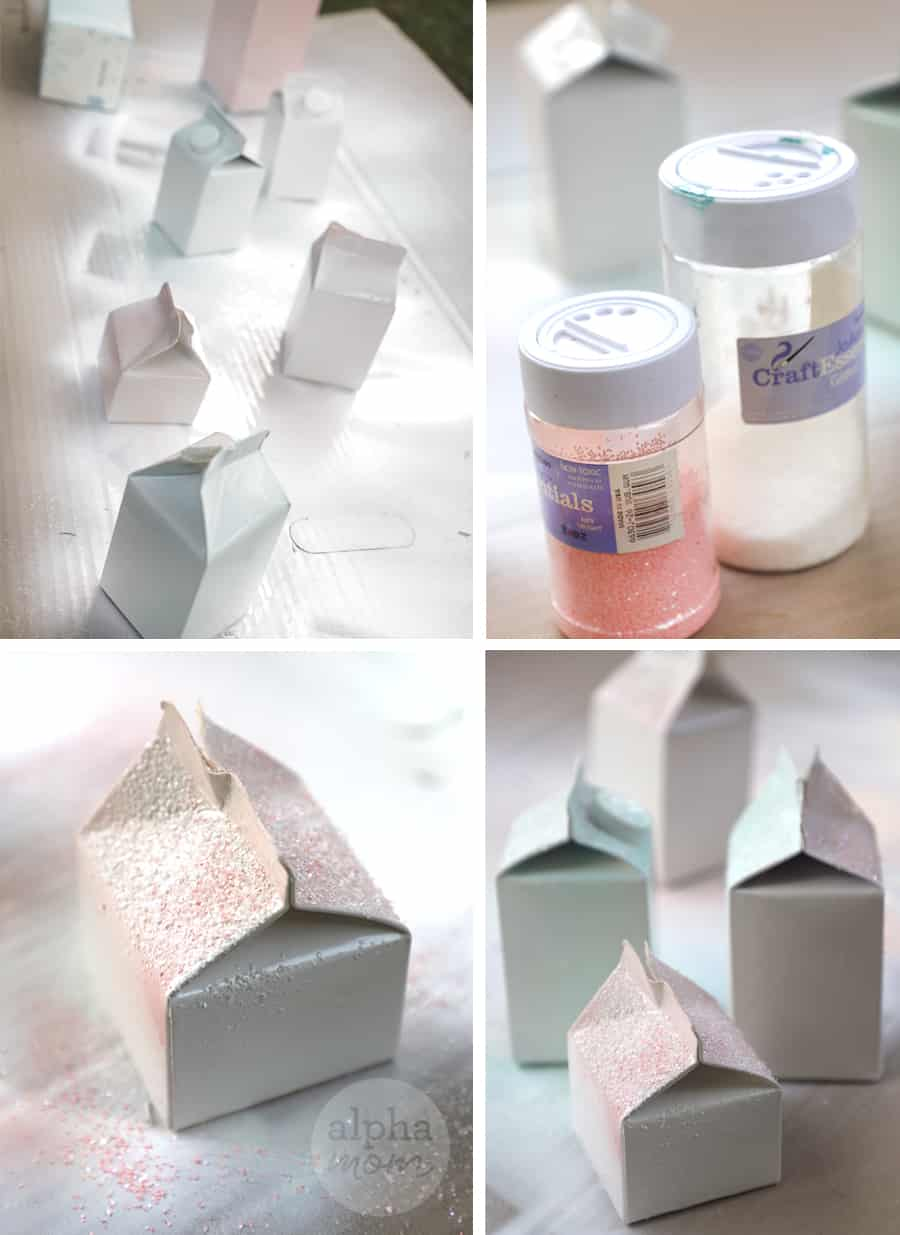 four photos of pint-sized dairy cartons being spray painted and glitter added