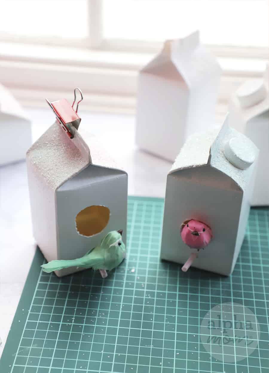 creamer carton with bird ornament