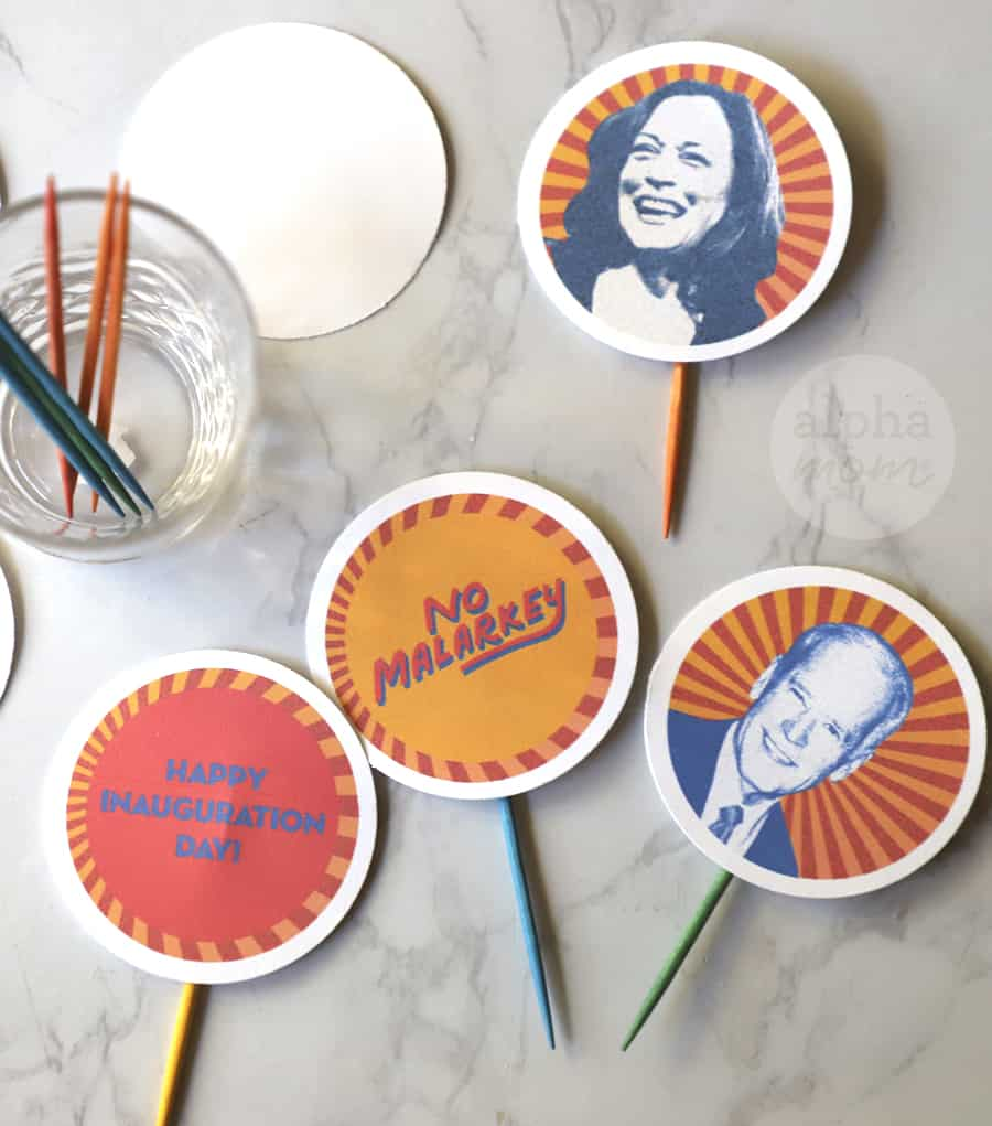 close-up photo of cupcake toppers on toothpicks of Joe Biden and Kamala Harris for Inauguration Day Party