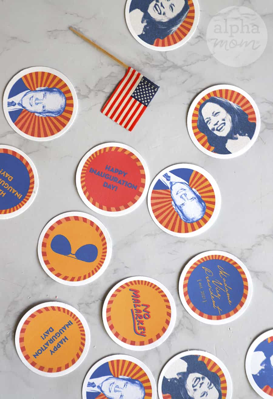 overhead photo of cupcake topper circle pictures of Kamala Harris, Joe Biden, Happy Inauguration Day and No Malarkey