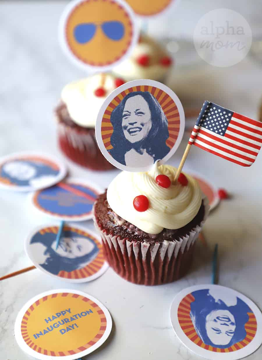 close-up photo of VP-elect Kamala Harris cupcake topper on cupcake for Inauguration Day Party
