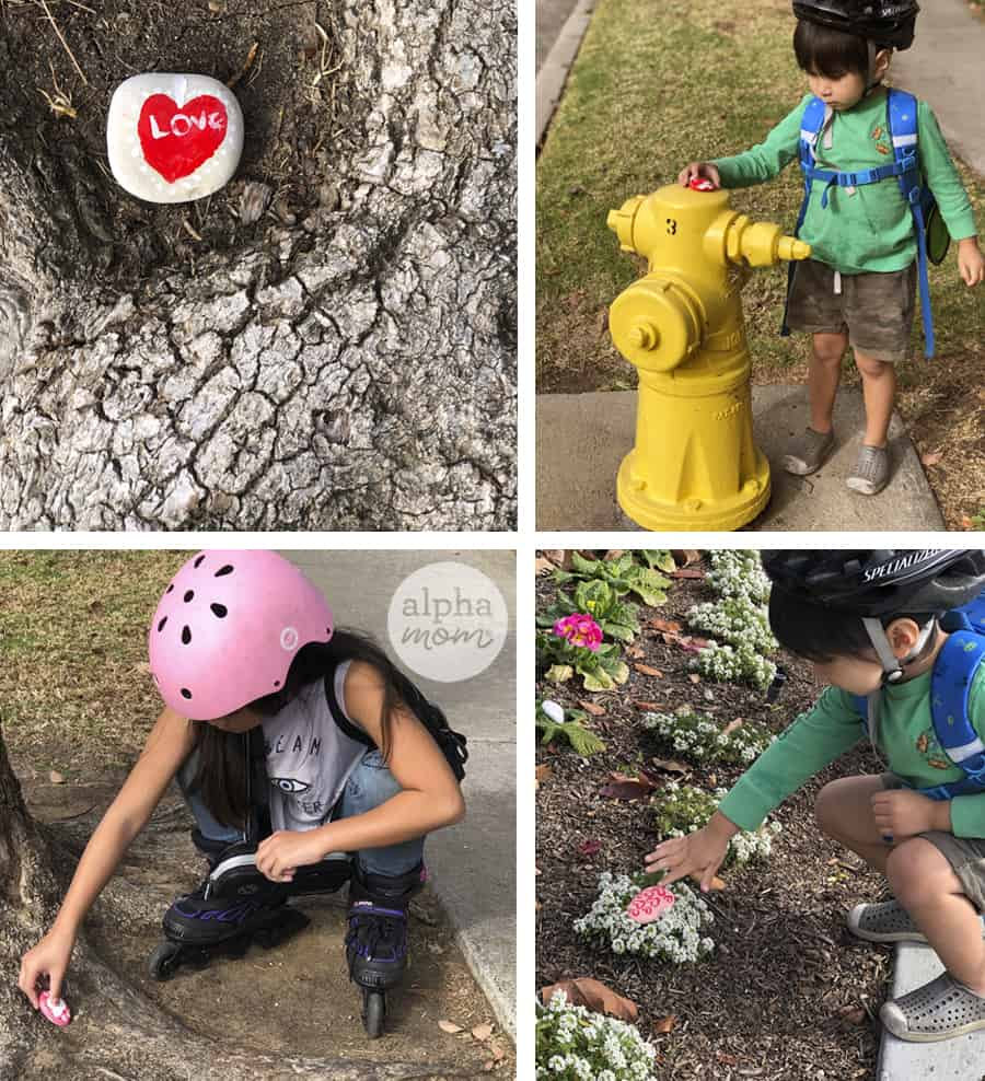 four photos of young brother and sister placing hand painted rocks for Valentine's Day outdoors in the neighborhood