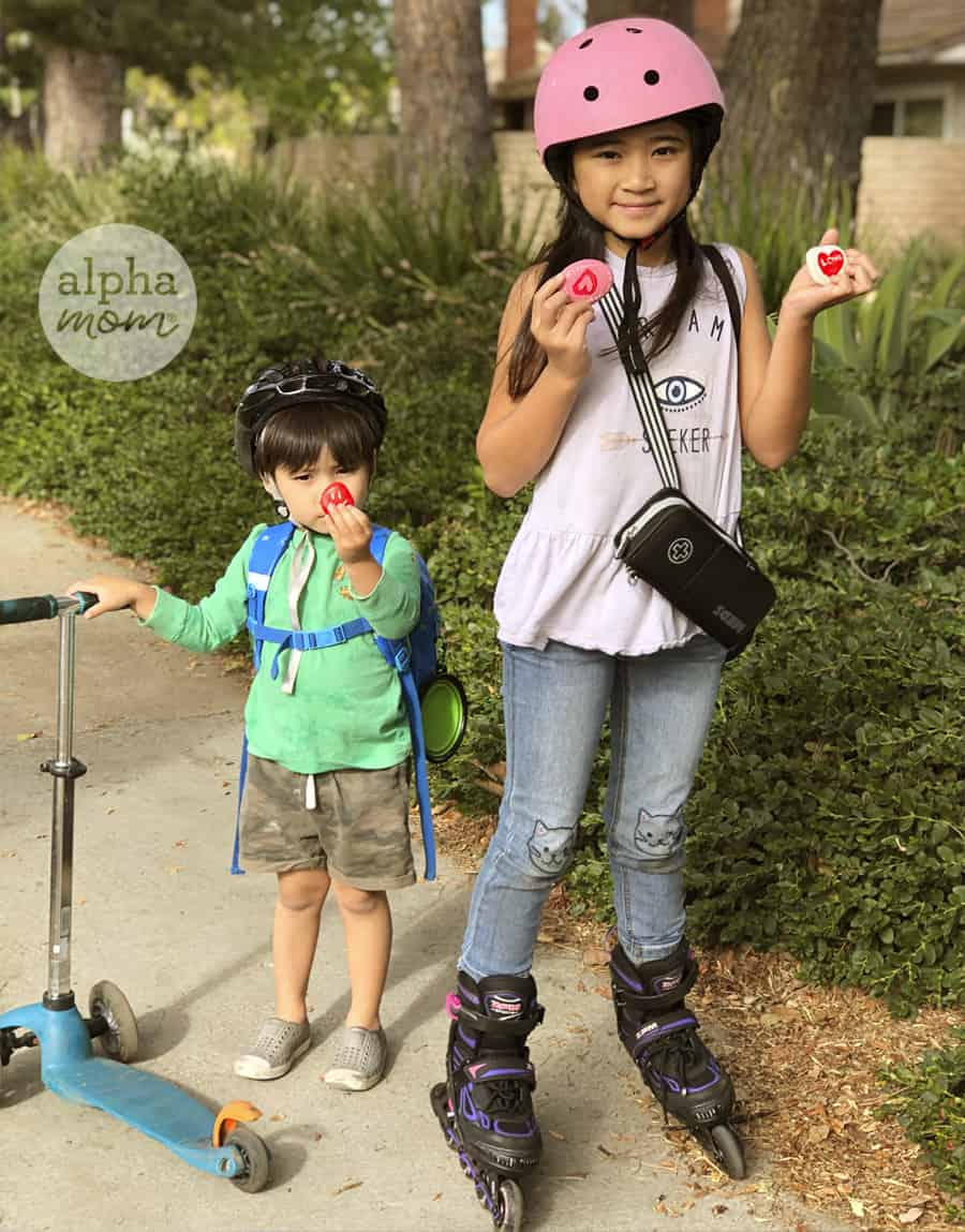 photo of young brother and sister wearing helmets holding up hand painted Valentine's Day rocks