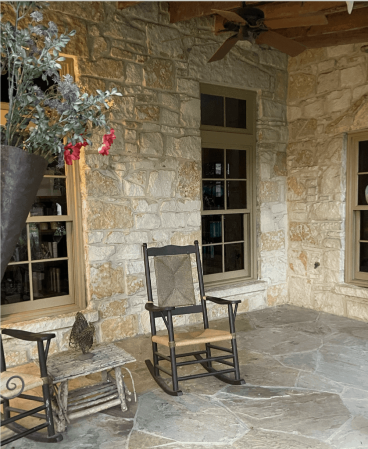 photo of rocking chairs on an outdoor terrace at the Hyatt Regency Hill Country Resort in San Antonio