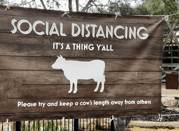 sign with cow and words saying Social Distancing at the Hyatt Regency Hill Country Resort in San Antonio