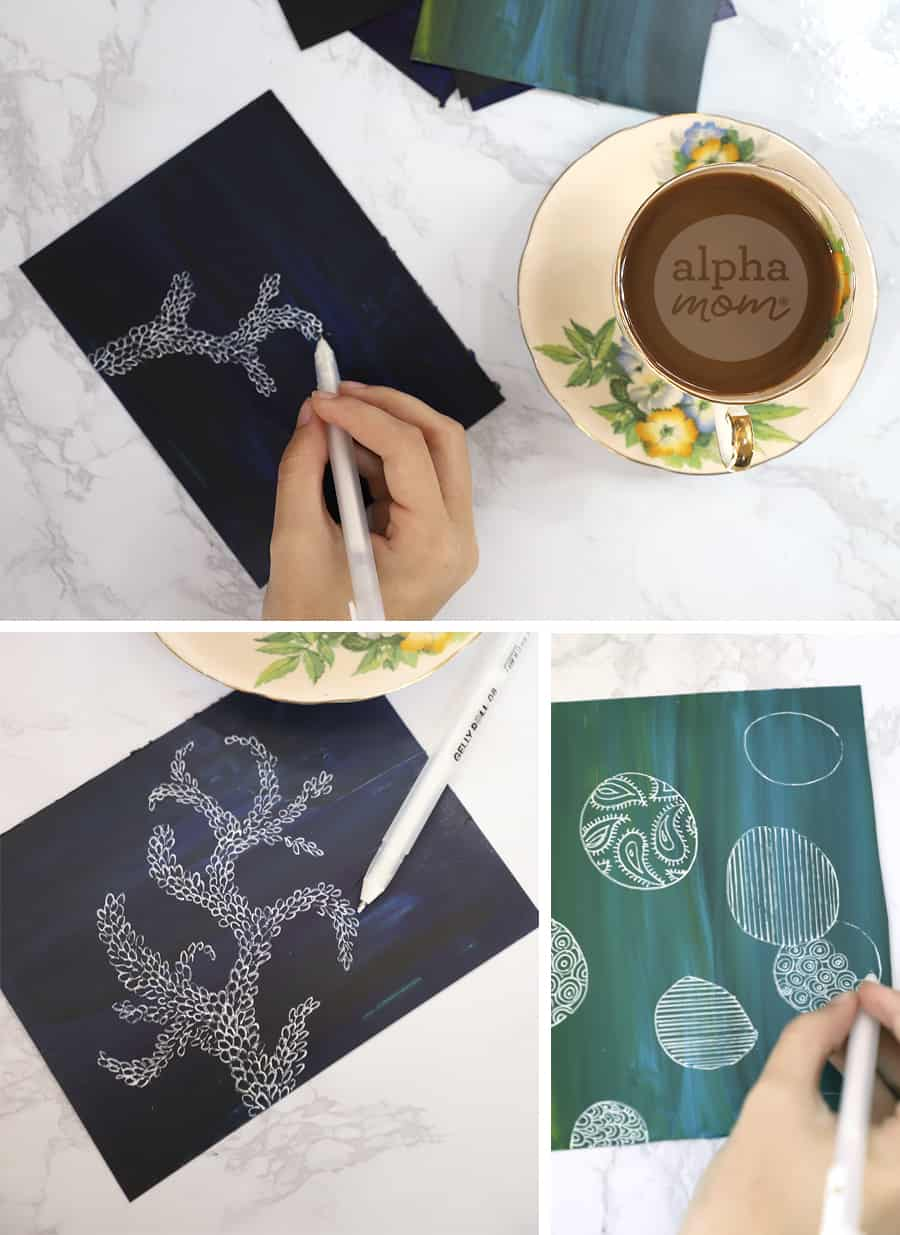 three photos of doodle art in white gel pen drawn onto painted cardboard paper