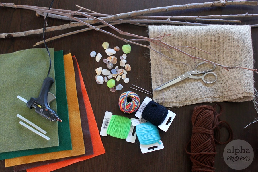 overhead photo of supplies for making camp banner craft