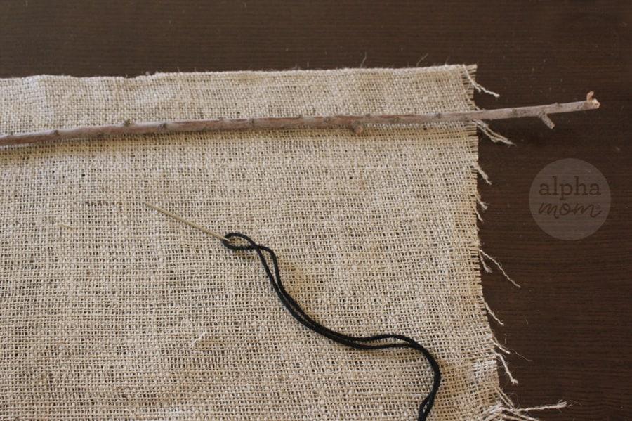 stitching burlap