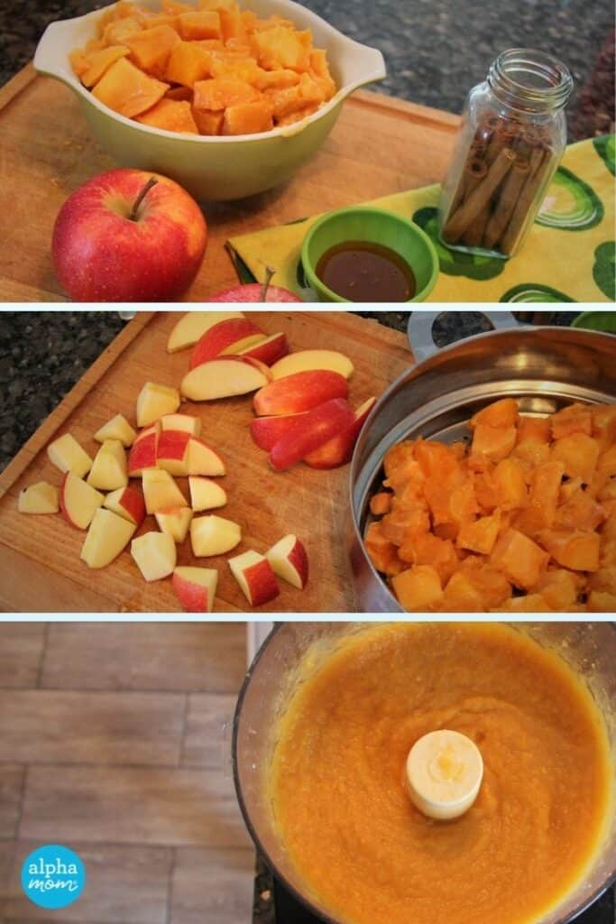 three photo collage of butternut squash and apples being chopped, steamed and then pureed together