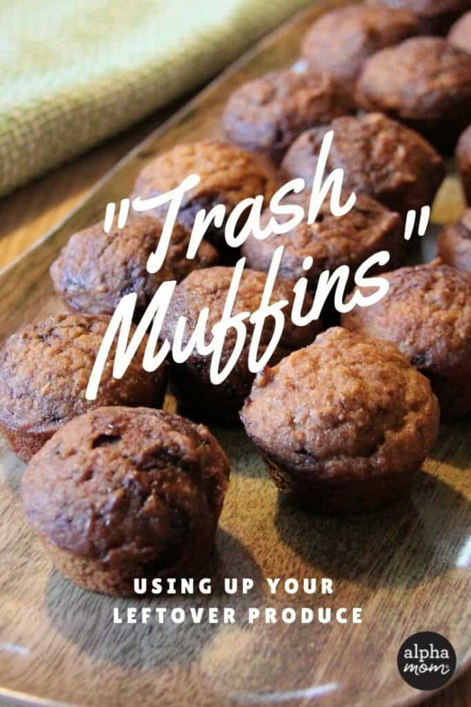 """close-up of Whole Wheat Chocolate Swirl Mini Muffins with Butternut Squash & Apples on wooden tray with """"Trash Muffins"""" written in white font"""