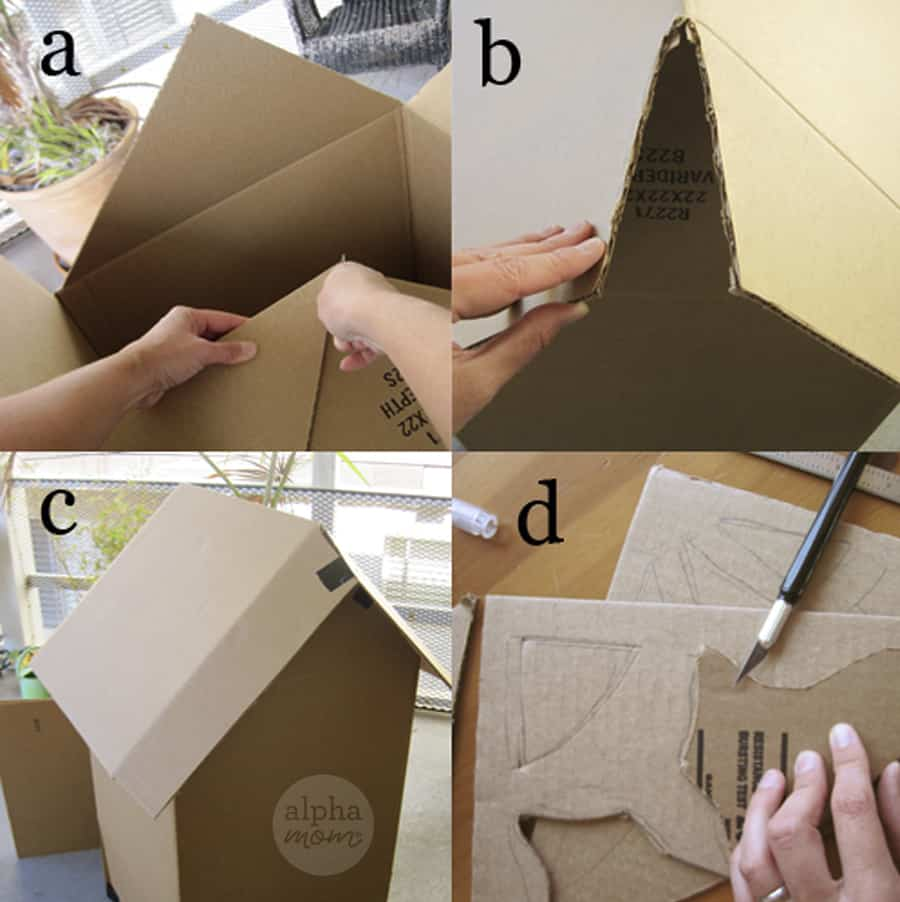 four close-up photos of cardboard being cut with x-acto knife and turned into a life-size haunted house for Halloween