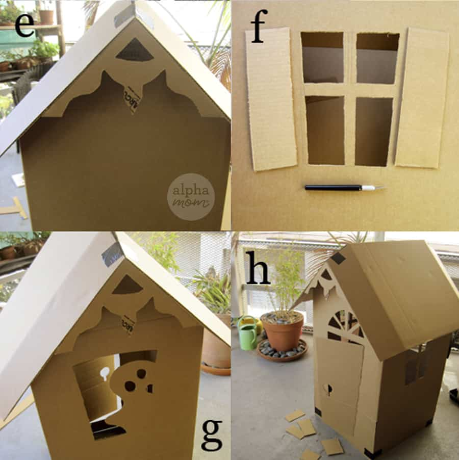 """four photos with life-sized cardboard-shaped gingerbread house showing details of the """"carved"""" roof"""