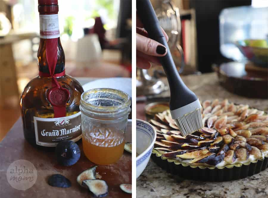 two photos with bottle of Grand Marnier liquor and apricot jam on left side; and photo of lady's hand glazing fig tart with pastry brush in right photo